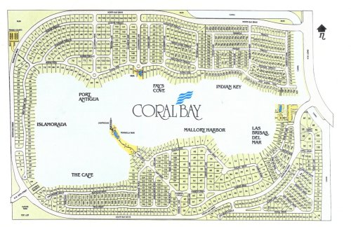 Map of Coral Bay Showing the lake and lot numbers for each lot