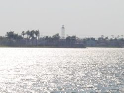 The lake and lighthouse as seen from the Clubhouse.